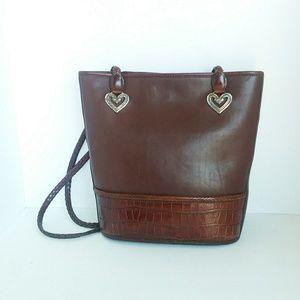 Brighton Leather Bucket Tote Heart Embellishments